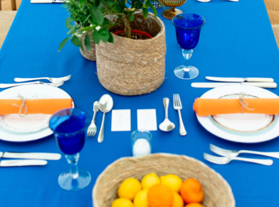 12 place settings with Mandarin Orange napkins