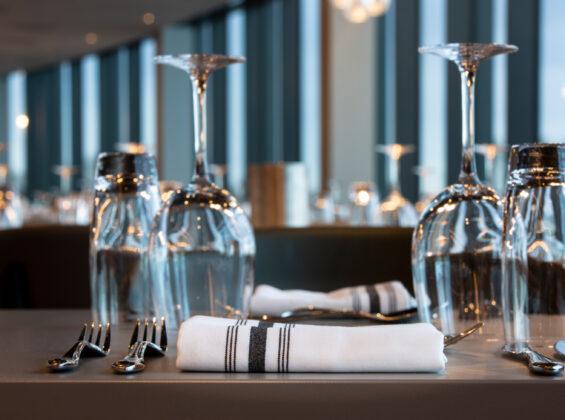 Black Stripe Bistro Style Napkin Informal Dining