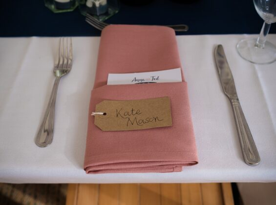 Rose Blush napkins at a wedding reception