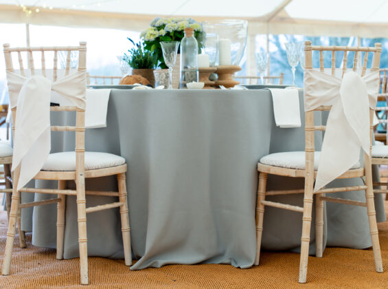 Arctic White chair sashes and napkins