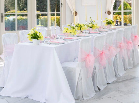 Arctic White label cloths and chair covers