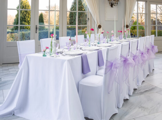 Arctic White label cloths and stretch chair covers
