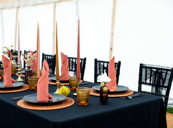 Autumn Orange napkins with Jet Black table cloth base