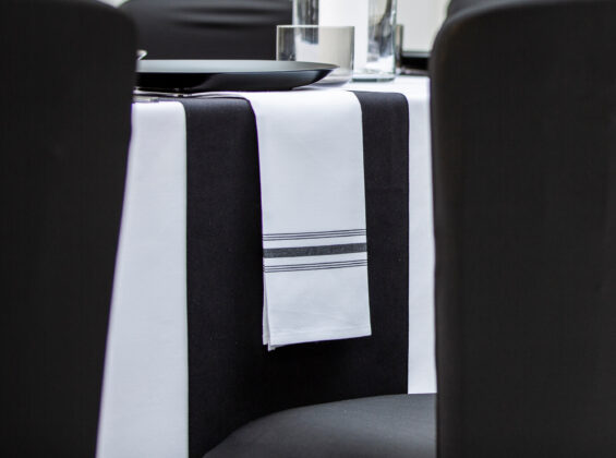 Black Stripe Bistro Style Napkins and Jet Black table runners