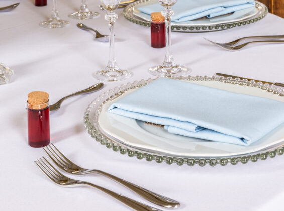 Three Cambridge Blue table linen napkins