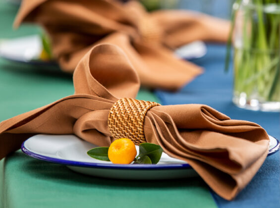Cinnamon napkin on Forest Green table cloth