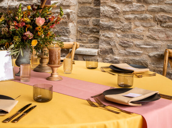 Honeycomb Gold table cloths