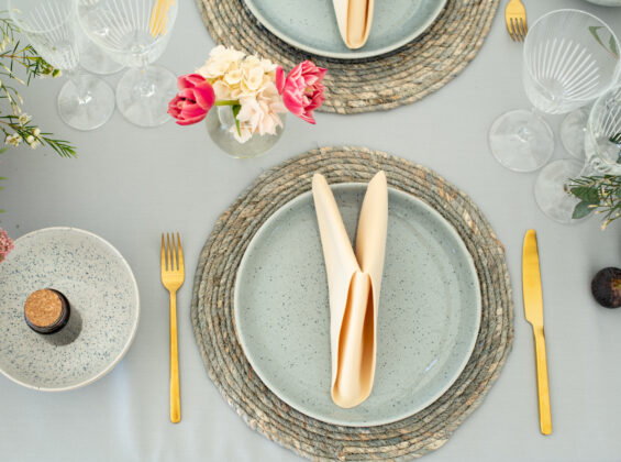 Cornfield Gold napkins with Pebble Grey table cloths
