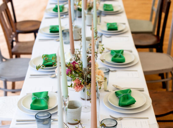 Mint Green napkins on Arctic White table cloth