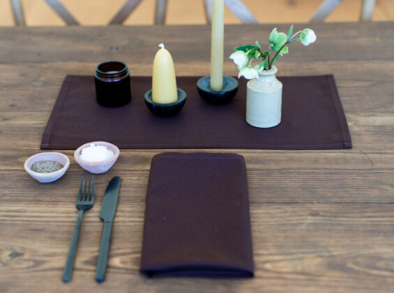 Cocoa napkins on rustic wooden table
