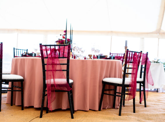 Merlot Red crystal organza with Rose Blush table cloth