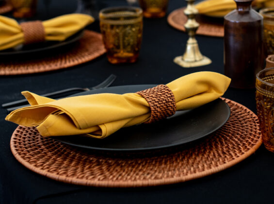 Honeycomb Gold napkin on Jet Black table cloth