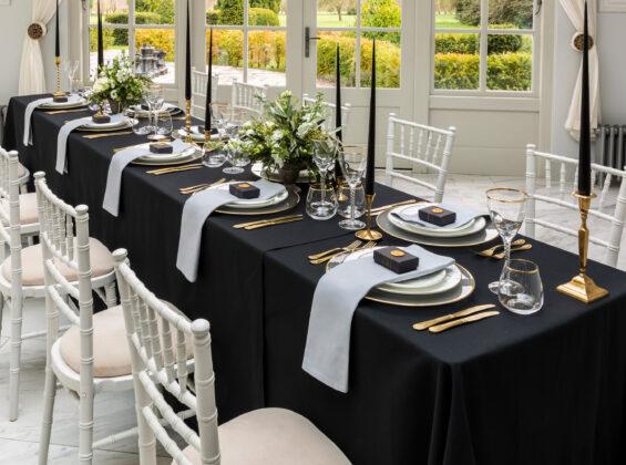 Jet Black table cloths with Pebble Grey napkins