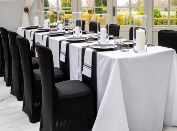Jet Black table runners and stretch chair covers