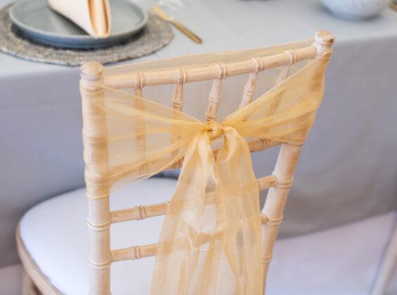 Natural Cream Crystal Organza Chair Sashes