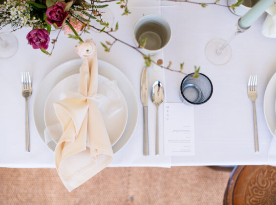 Natural Cream napkin on a Arctic White table cloth