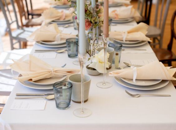 Natural Cream napkins on a Arctic White table cloths
