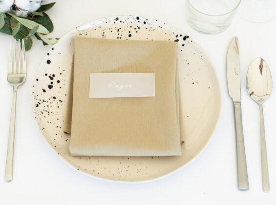 Olive napkin on Arctic White