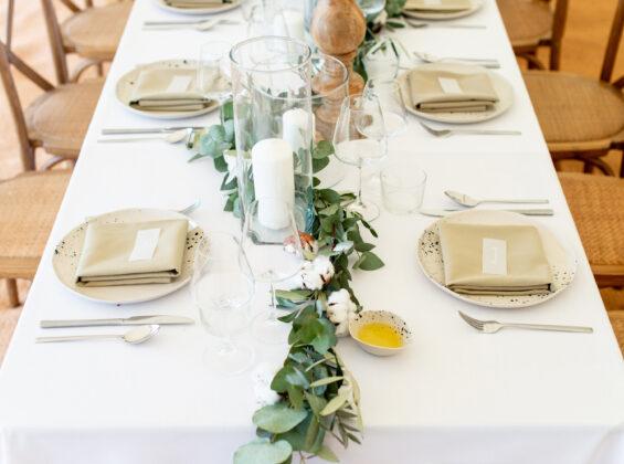 Olive napkins on Arctic White