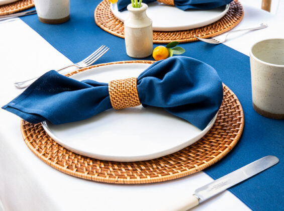 Oxford Blue Napkin and Table Runner