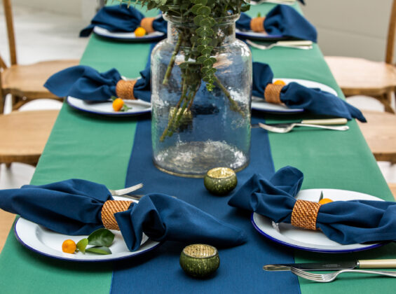 Oxford Blue Napkins and Table Runners with Forest Green base
