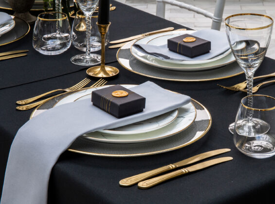 Pebble Grey napkins with Jet Black table cloths