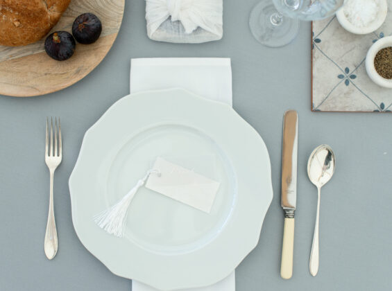 Pebble Grey table cloths with Arctic White napkins