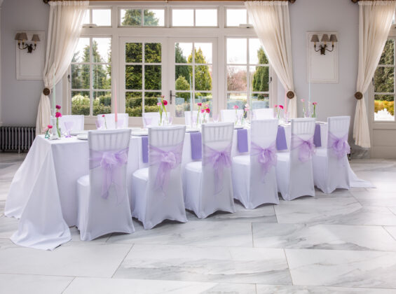 Summer Lavender napkins and organza sashes