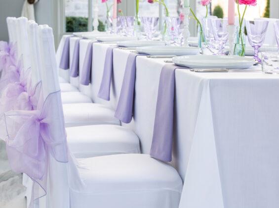 Summer Lavender napkins and organza sashes
