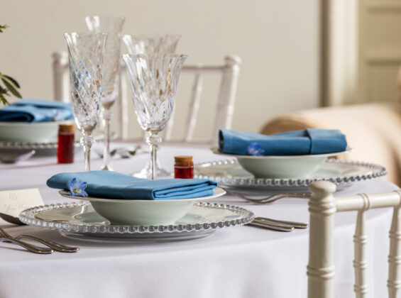 Three Glacier Blue napkin with Arctic White round table cloths