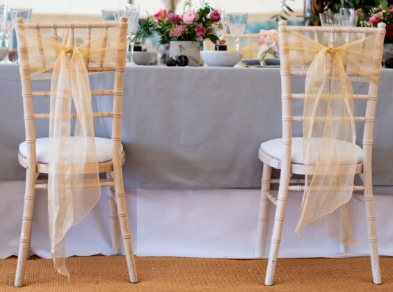Two Natural Cream Crystal Organza Chair Sashes