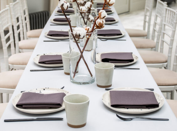 Wild Truffle napkins on Pebble Grey